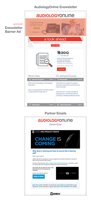AudiologyOnline newsletter partner banner ad placement and partner email opportunity